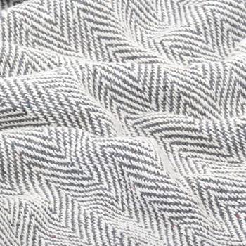 vidaXL Pamučni pokrivač s uzorkom riblje kosti 160x210 cm sivi