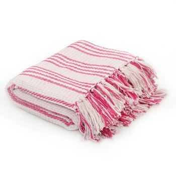 vidaXL Pamučni pokrivač na pruge 125x150 cm ružičasto bijeli