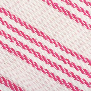 vidaXL Pamučni pokrivač na pruge 160x210 cm ružičasto bijeli