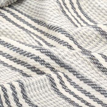 vidaXL Pamučni pokrivač na pruge 160x210 cm sivo bijeli