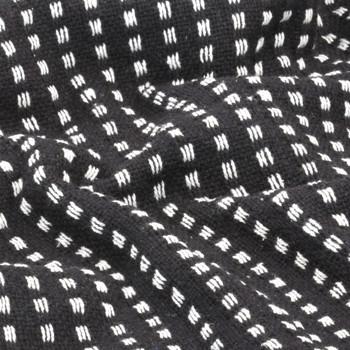 vidaXL Pamučni pokrivač na kvadratiće 220x250 cm crni