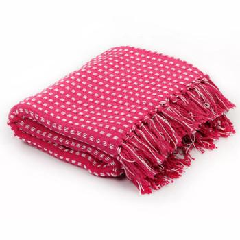 vidaXL Pamučni pokrivač na kvadratiće 220x250 cm ružičasti