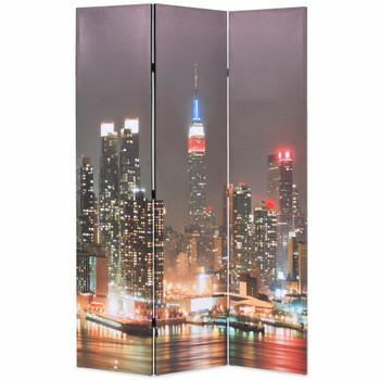 vidaXL Sklopiva sobna pregrada sa slikom New Yorka noću 120 x 170 cm