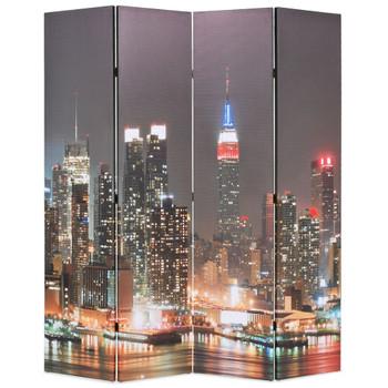 vidaXL Sklopiva sobna pregrada sa slikom New Yorka noću 160 x 170 cm