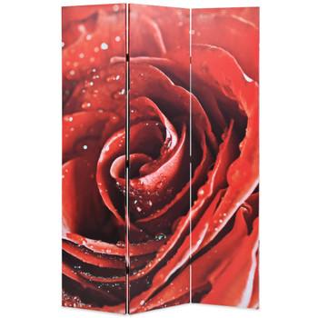 vidaXL Sklopiva sobna pregrada sa slikom crvene ruže 120 x 170 cm