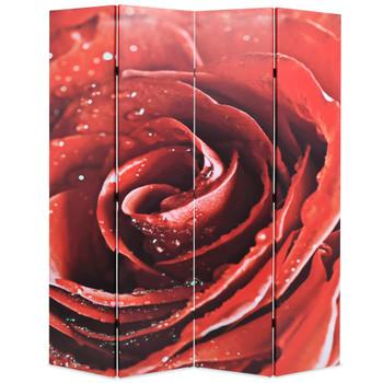 vidaXL Sklopiva sobna pregrada sa slikom crvene ruže 160 x 170 cm