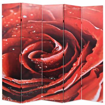 vidaXL Sklopiva sobna pregrada sa slikom crvene ruže 200 x 170 cm