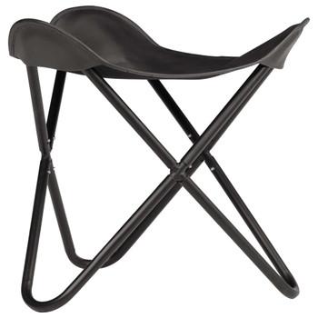 vidaXL Leptir-stolac od prave kože crni