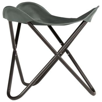 vidaXL Leptir-stolac od prave kože sivi