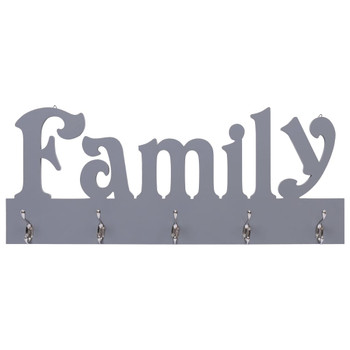 vidaXL Zidna vješalica za kapute FAMILY siva 74 x 29,5 cm