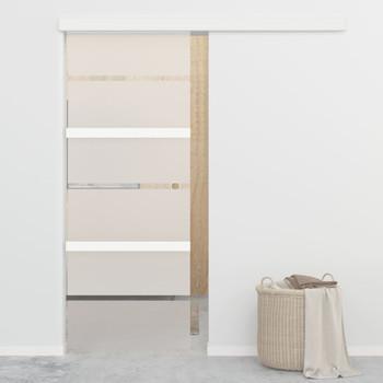 vidaXL Klizna vrata od stakla ESG i aluminija 76 x 205 cm srebrna