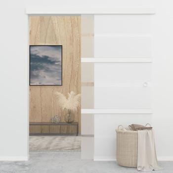vidaXL Klizna vrata od stakla ESG i aluminija 102,5 x 205 cm srebrna