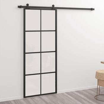 vidaXL Klizna vrata od aluminija i ESG stakla 76 x 205 cm crna