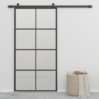 vidaXL Klizna vrata od aluminija i ESG stakla 102,5 x 205 cm crna