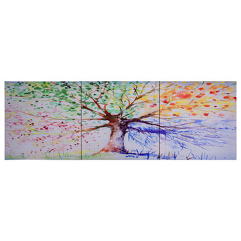 vidaXL Set zidnih slika na platnu s uzorkom kišnog stabla 120 x 40 cm