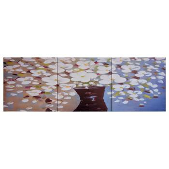 vidaXL Set zidnih slika na platnu s uzorkom cvijeća u vazi 120 x 40 cm
