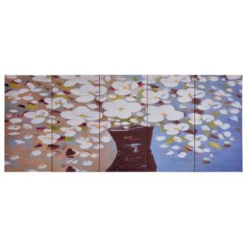 vidaXL Set zidnih slika na platnu s uzorkom cvijeća u vazi 200 x 80 cm