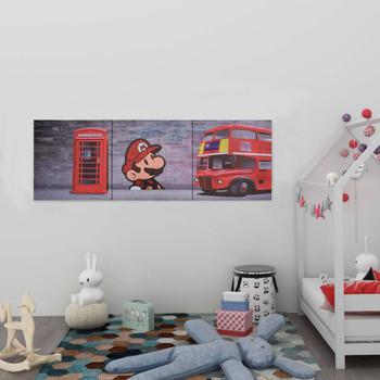 vidaXL Set zidnih slika na platnu s uzorkom Londona šareni 120 x 40 cm