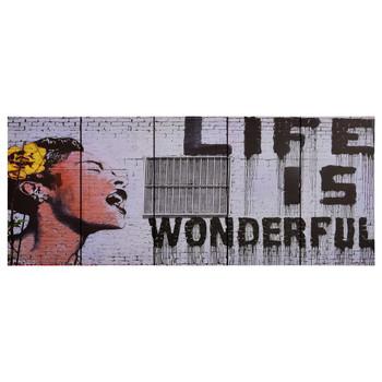 vidaXL Set zidnih slika na platnu s natpisom Wonderful 150 x 60 cm
