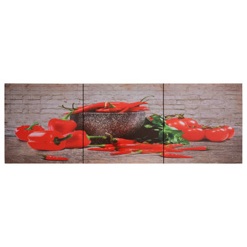 vidaXL Set zidnih slika na platnu s uzorkom paprika šareni 120 x 40 cm