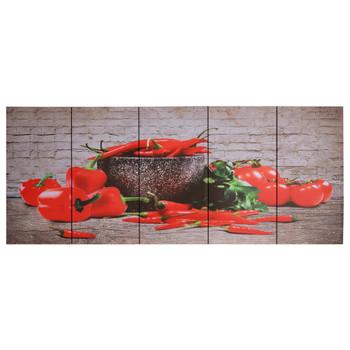 vidaXL Set zidnih slika na platnu s uzorkom paprika šareni 200 x 80 cm