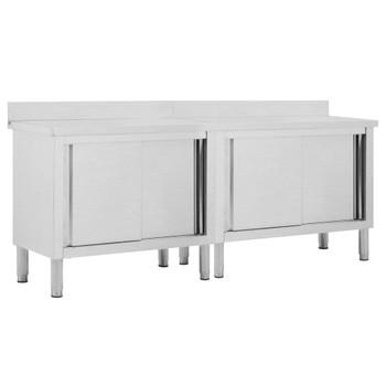 vidaXL Radni stolovi s kliznim vratima 2 kom 200x50x95cm cm čelični