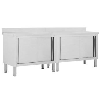 vidaXL Radni stolovi s kliznim vratima 2 kom 240x50x95cm cm čelični