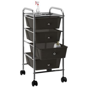 vidaXL Pokretna kolica za pohranu s 4 ladice crna plastična