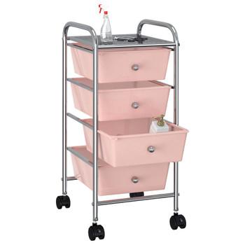 vidaXL Pokretna kolica za pohranu s 4 ladice ružičasta plastična