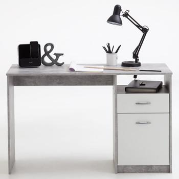 FMD radni stol s 1 ladicom 123 x 50 x 76,5 cm boja betona i bijela