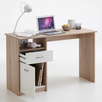 FMD radni stol s 1 ladicom 123 x 50 x 76,5 cm boja hrasta i bijela