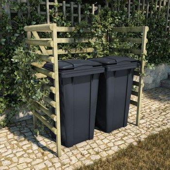vidaXL Spremište za dvije kante za smeće zeleno 140x80x150 cm borovina