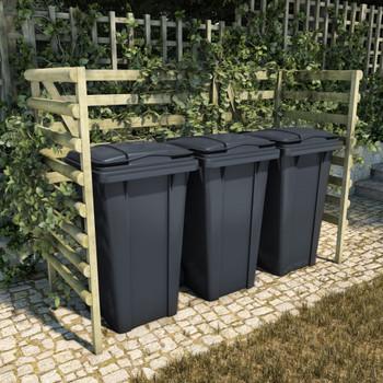 vidaXL Spremište za tri kante za smeće zeleno 210x80x150 cm borovina