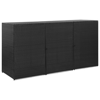 vidaXL Spremište za 3 kante za smeće crno 229 x 78 x 120 cm poliratan