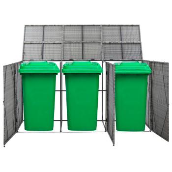 vidaXL Spremište za 3 kante za smeće antracit 229x78x120 cm poliratan