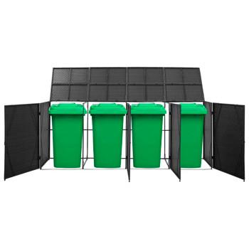 vidaXL Spremište za 4 kante za smeće crno 305 x 78 x 120 cm poliratan