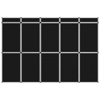 vidaXL Sklopivi izložbeni zid s 15 ploča 302 x 200 cm crni
