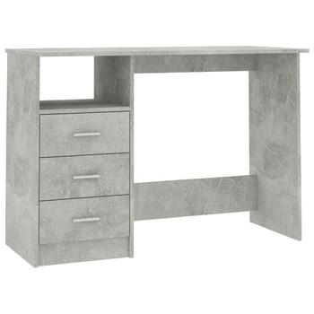 vidaXL Radni stol s ladicama siva boja betona 110 x 50 x 76 cm iverica