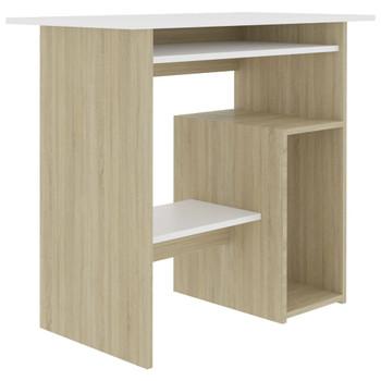 vidaXL Radni stol bijeli i boja hrasta sonome 80 x 45 x 74 cm iverica