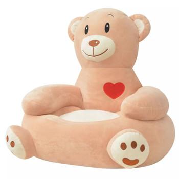 vidaXL Plišana dječja fotelja u obliku medvjeda smeđa