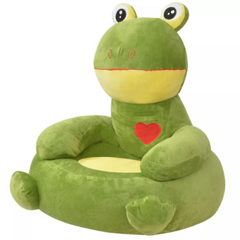 vidaXL Plišana dječja fotelja u obliku žabe zelena