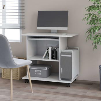 vidaXL Stol za računalo bijeli 80 x 50 x 75 cm od iverice