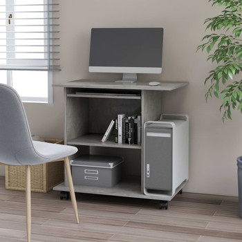vidaXL Stol za računalo siva boja betona 80 x 50 x 75 cm od iverice