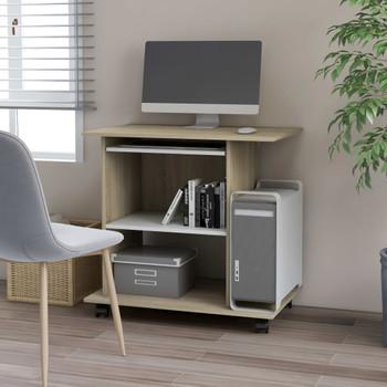vidaXL Stol za računalo bijeli i boja hrasta 80 x 50 x 75 cm iverica