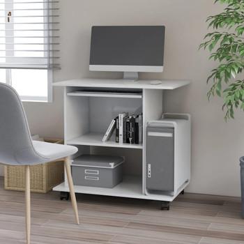 vidaXL Stol za računalo visoki sjaj bijeli 80 x 50 x 75 cm od iverice