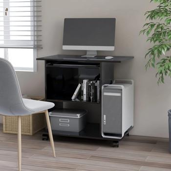 vidaXL Stol za računalo visoki sjaj crni 80 x 50 x 75 cm od iverice