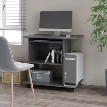 vidaXL Stol za računalo visoki sjaj sivi 80 x 50 x 75 cm od iverice