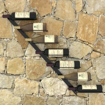 vidaXL Zidni stalak za vino za 7 boca crni metalni