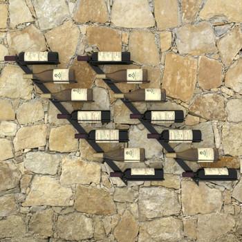 vidaXL Zidni stalci za vino za 14 boca 2 kom crni metalni
