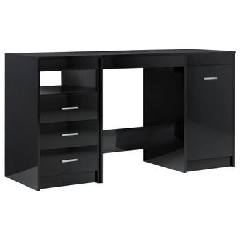 vidaXL Radni stol visoki sjaj crni 140 x 50 x 76 cm od iverice